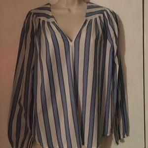 Gap Blue/White Striped long sleeved blouse, Small